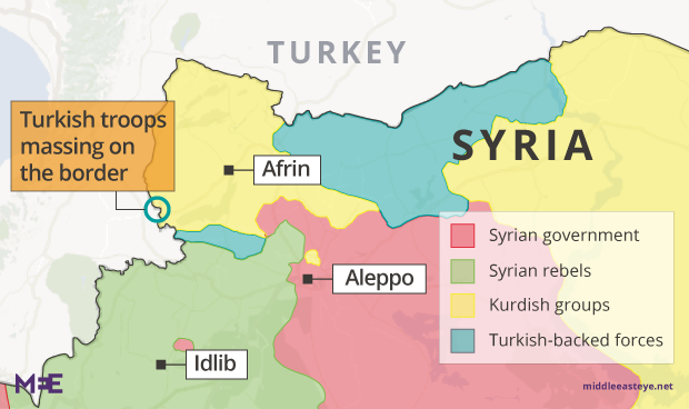Turkey Shells Afrin As It Awaits Removal Of Russian Military - Where is syria and turkey