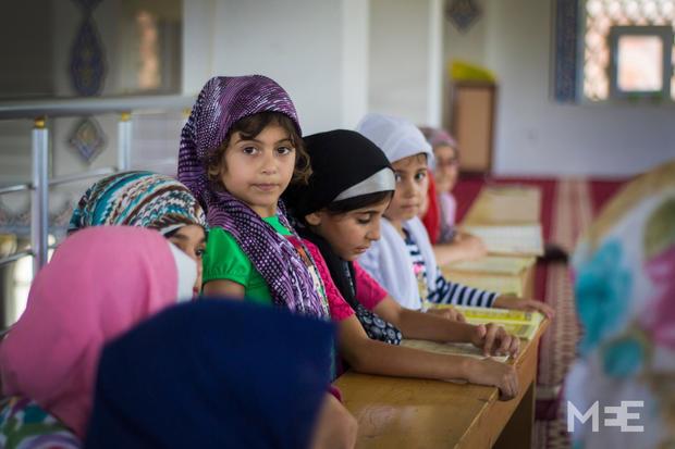 Rojda Nasro in the Turkish mosque (MEE/Xander Stockmans)