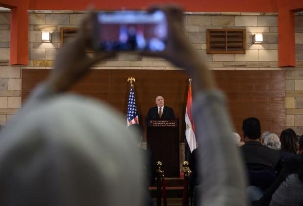 Pompeo speaks to students at the American University Cairo on 10 January (AFP)