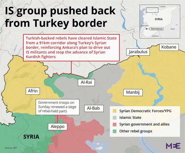 LIVE BLOG Latest From War In Syria Middle East Eye - Map of syria and turkey