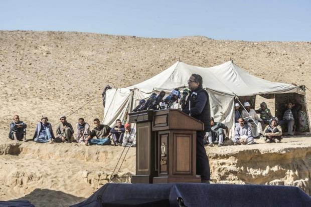 Antiquities Minister Khaled el Enani at news conference at site of discovery on Saturday