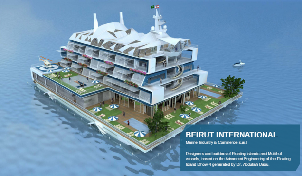 Floating island hotel designs (Beirutinternational.com)