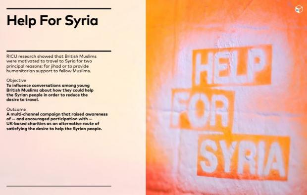 A screengrab from a Breakthrough Media PowerPoint presentation showcasing the Help for Syria campaign