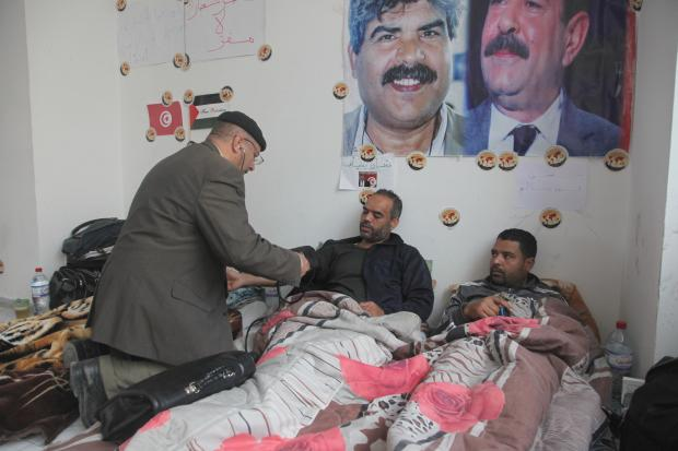 The hunger strikers recently rejected a government offer of help, calling it 'unrealistic' (MEE/Thessa Lageman)