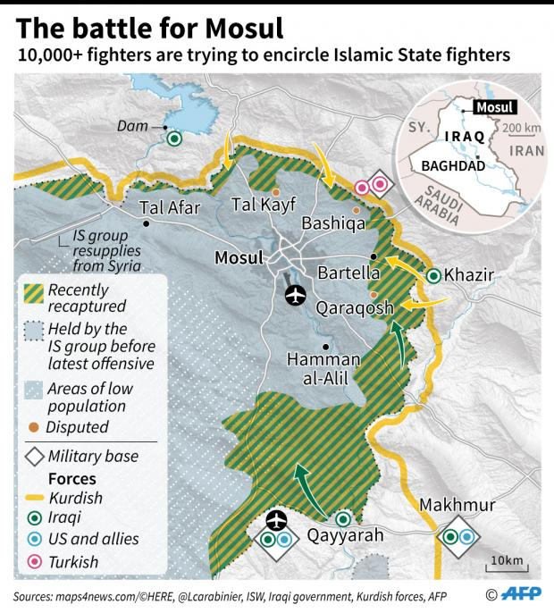 Iraqi Forces Tighten Noose Around Mosul As Kurds Capture Bashiqa - Map of us bases around iraq