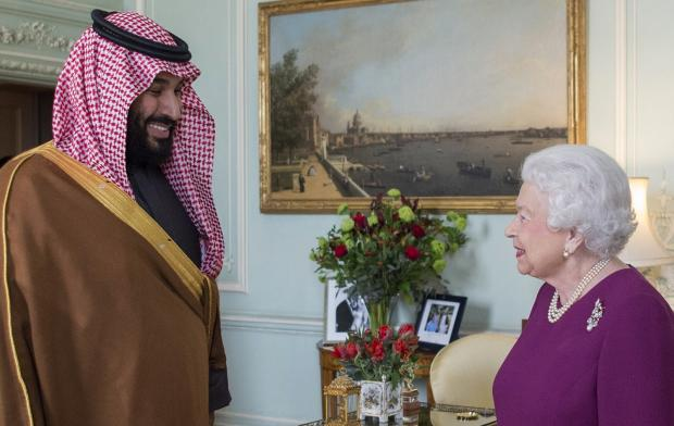 Mohammed bin Salman meets with Queen Elizabeth in March 2018 during his visit to the UK