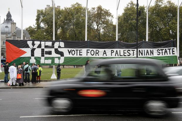 Pro-Palestinian supporters call for a recognised Palestinian State in Parliament Square London
