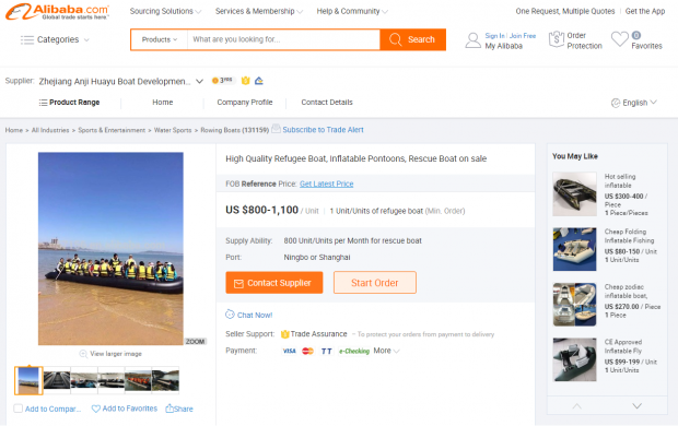 High-quality refugee boats' for sale on Chinese website