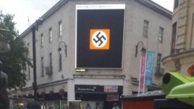 Swastikas on the big screen in Cardiff's city centre