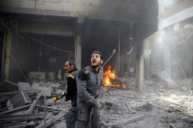Eastern Ghouta Civil Defence attempted to put out a fire
