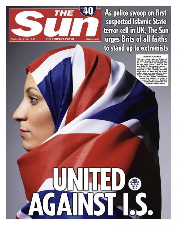 The image of a woman in a Union Jack hijab was used on the front page of The Sun (Twitter)