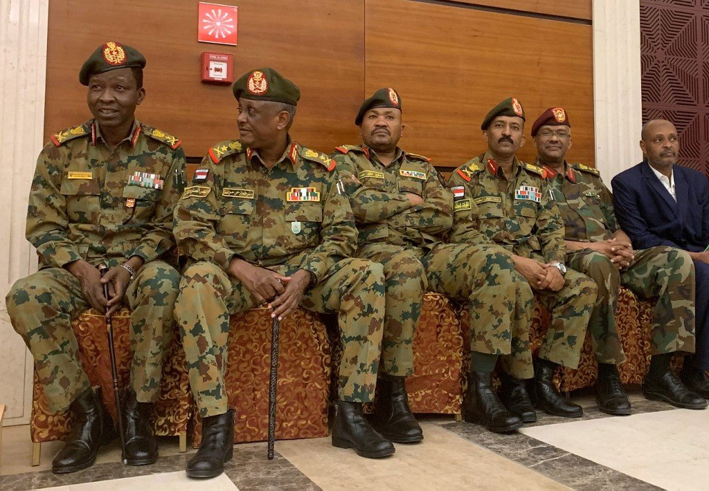 Members of Sudan's military council are seen in Khartoum on 17 July (AFP)