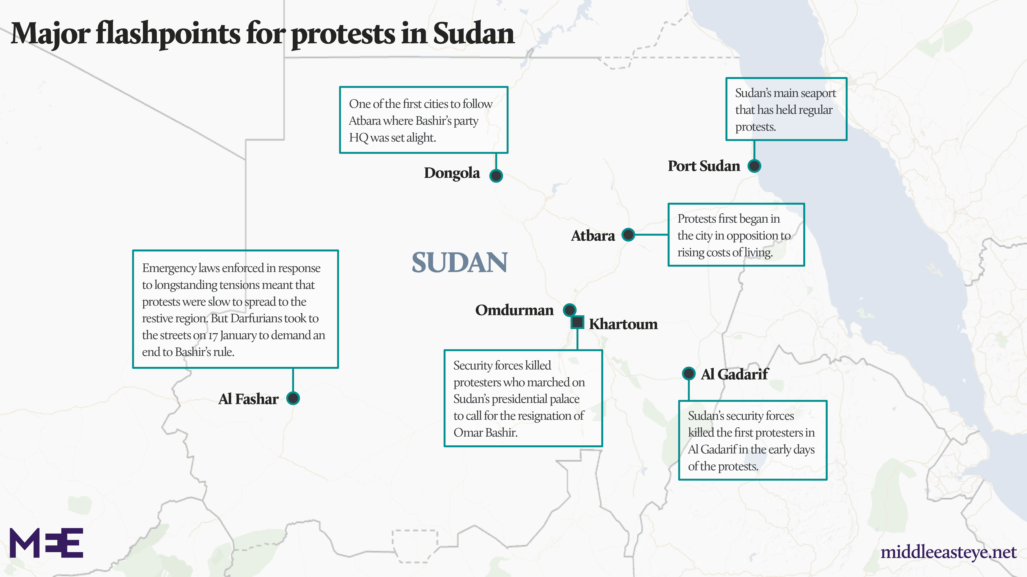Sudan protest map