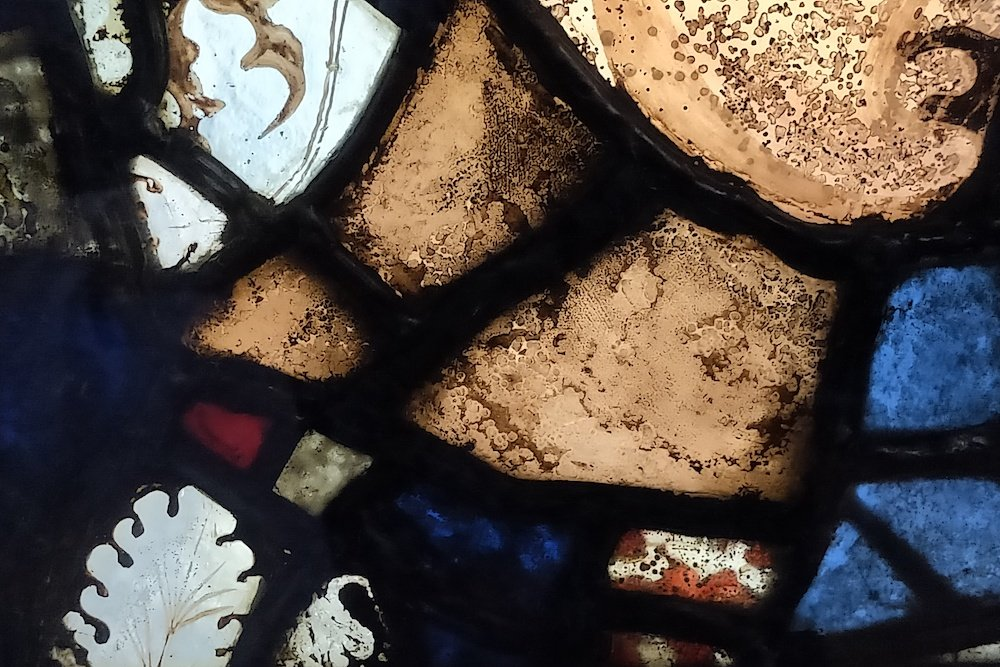 Pictured is 12th-century stained glass with bubbles (Diana Darke/MEE)