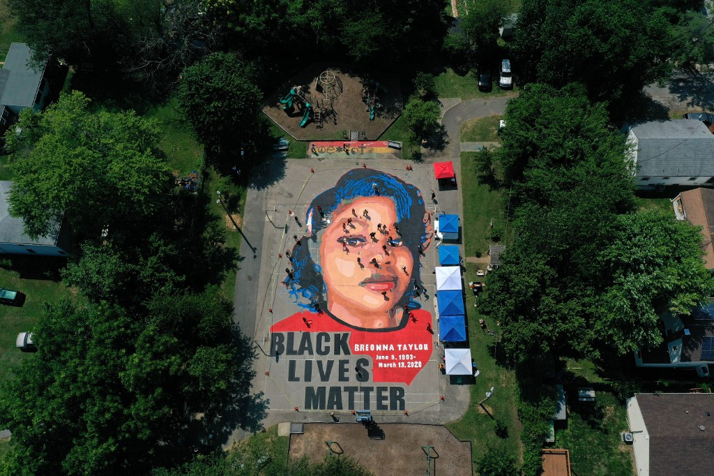 A ground mural depicts Breonna Taylor in Annapolis, Maryland, on 5 July (AFP)