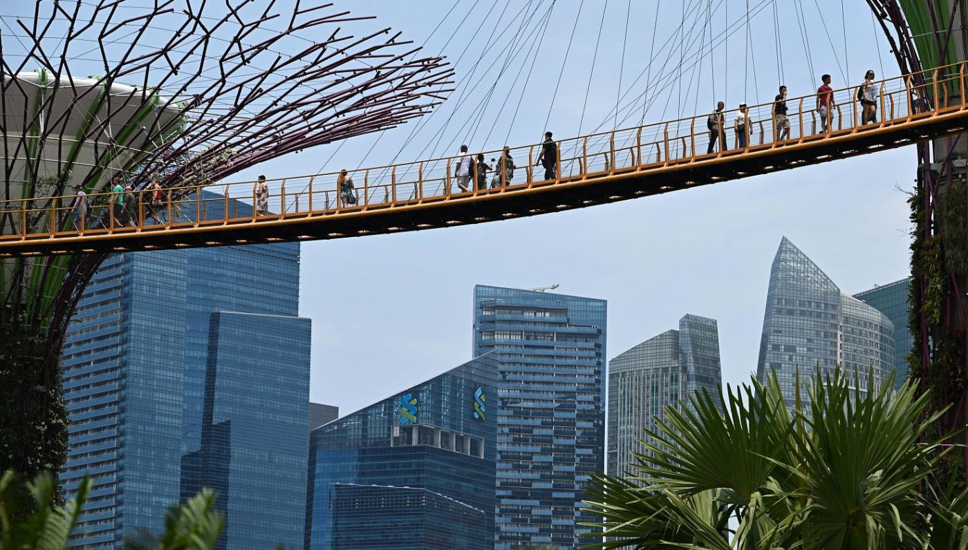 Passerelle des jardins de la baie à Singapour, en mars 2019: est-ce le meilleur modèle pour la Palestine de demain? (AFP)