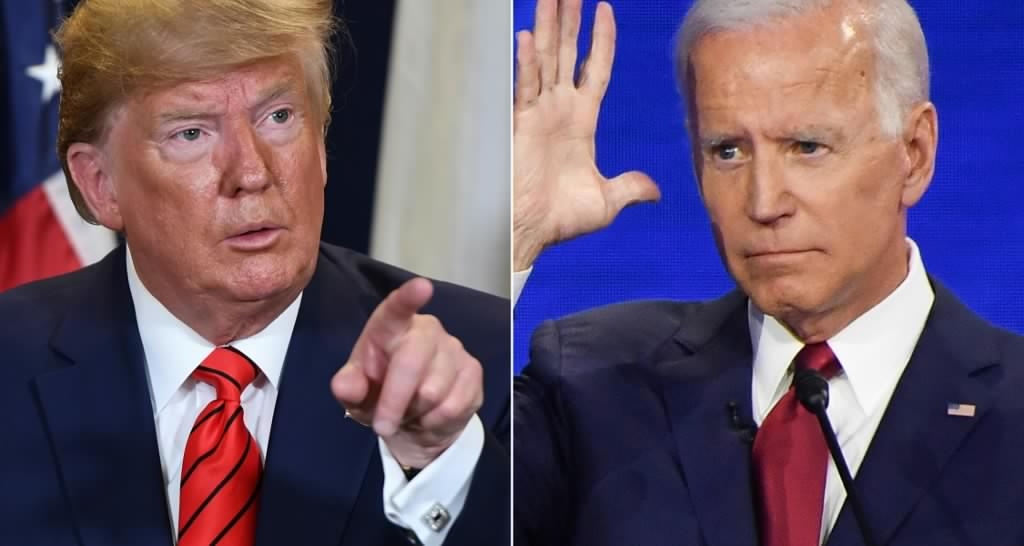 US President Donald Trump and Biden are pictured separately (AFP)