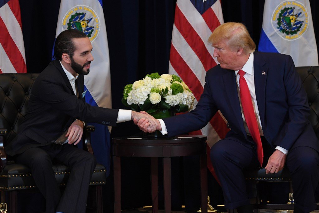 US President Donald Trump and El Salvadoran President Nayib Bukele meet in New York on 25 September (AFP)