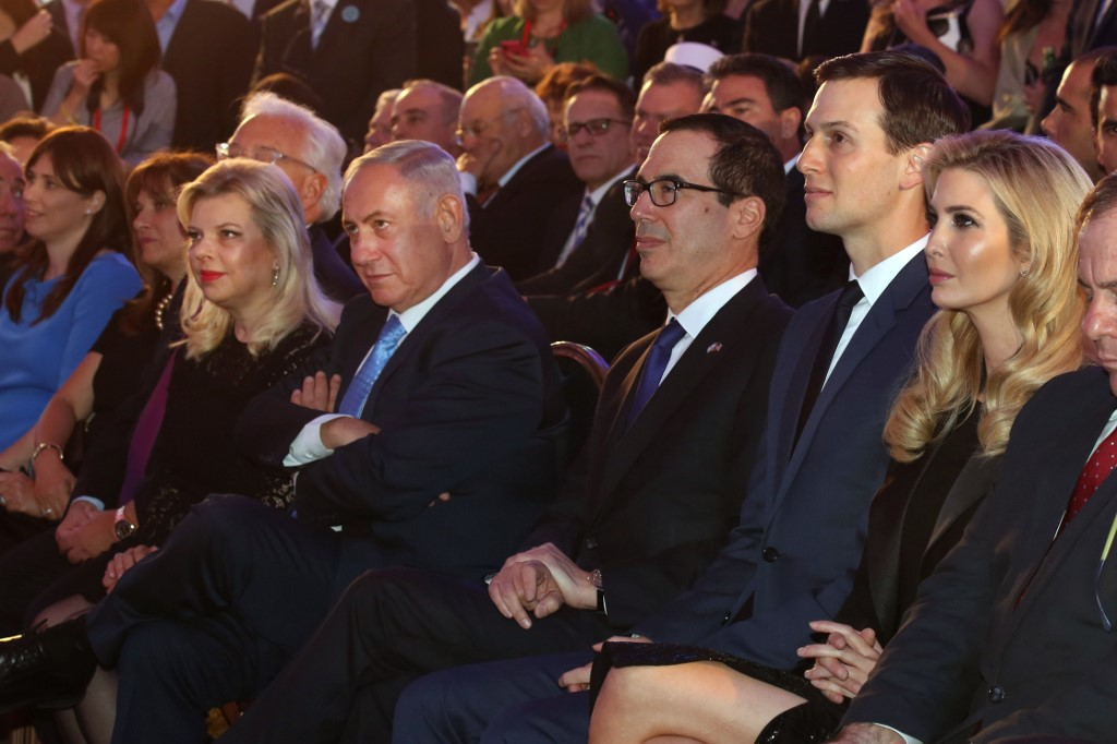 Ivanka Trump, her husband Jared Kushner, US Treasury Secretary Steve Mnuchin, Israeli Prime Minister Benjamin Netanyahu and his wife, Sarah, attend official ceremony to open the US embassy in Jerusalem last May (AFP)