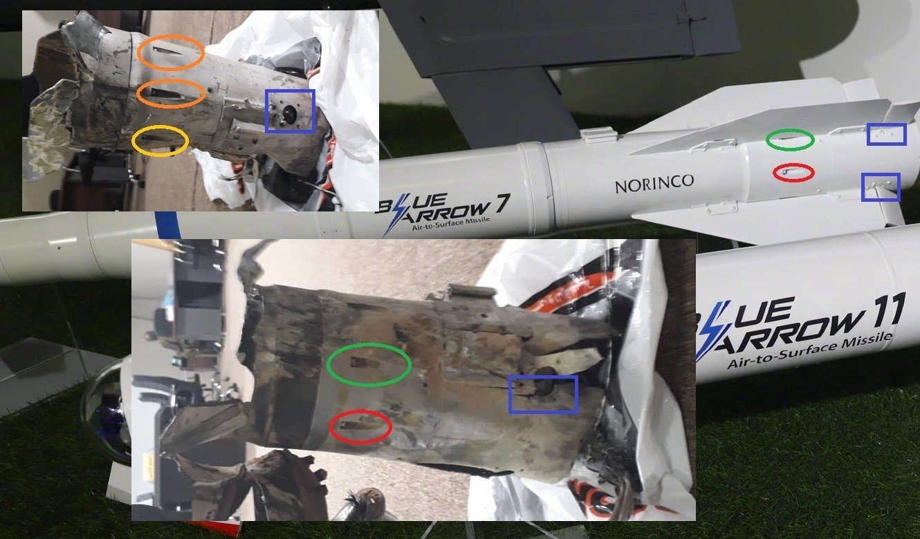 Images showing fragments of the Blue Arrow 7 missiles in Libya compared to a preserved example (Supplied)